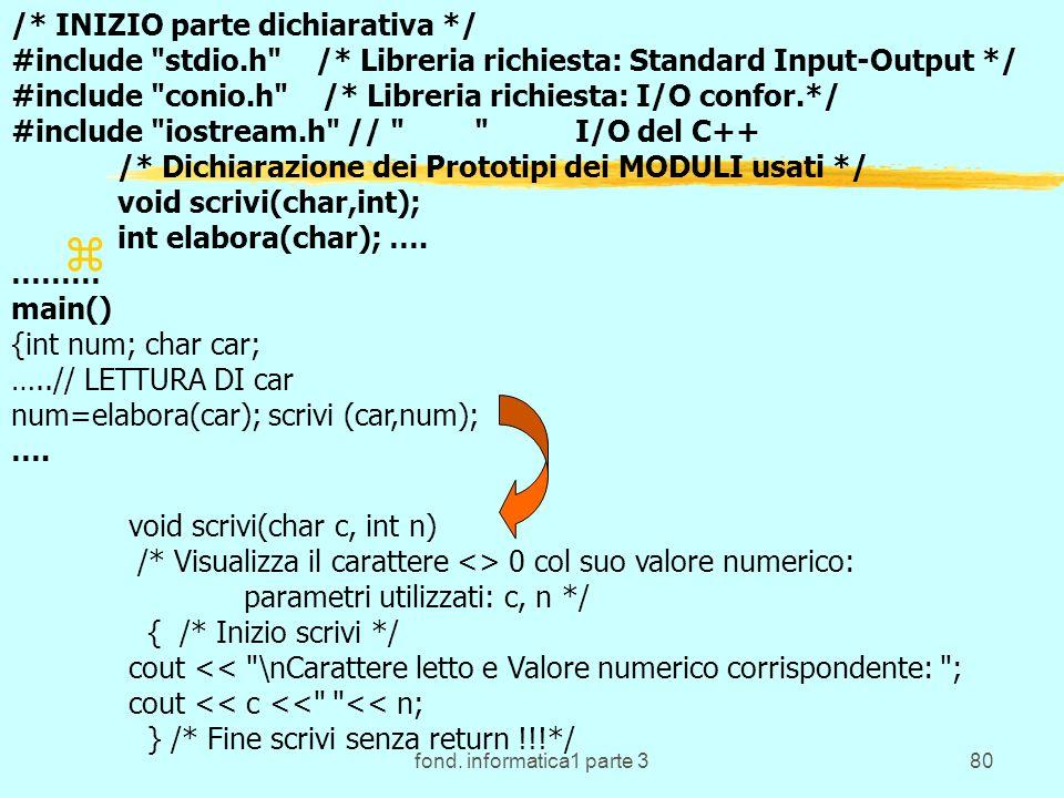 fond. informatica1 parte 380 z void scrivi(char c, int n) /* Visualizza il carattere <> 0 col suo valore numerico: parametri utilizzati: c, n */ { /*