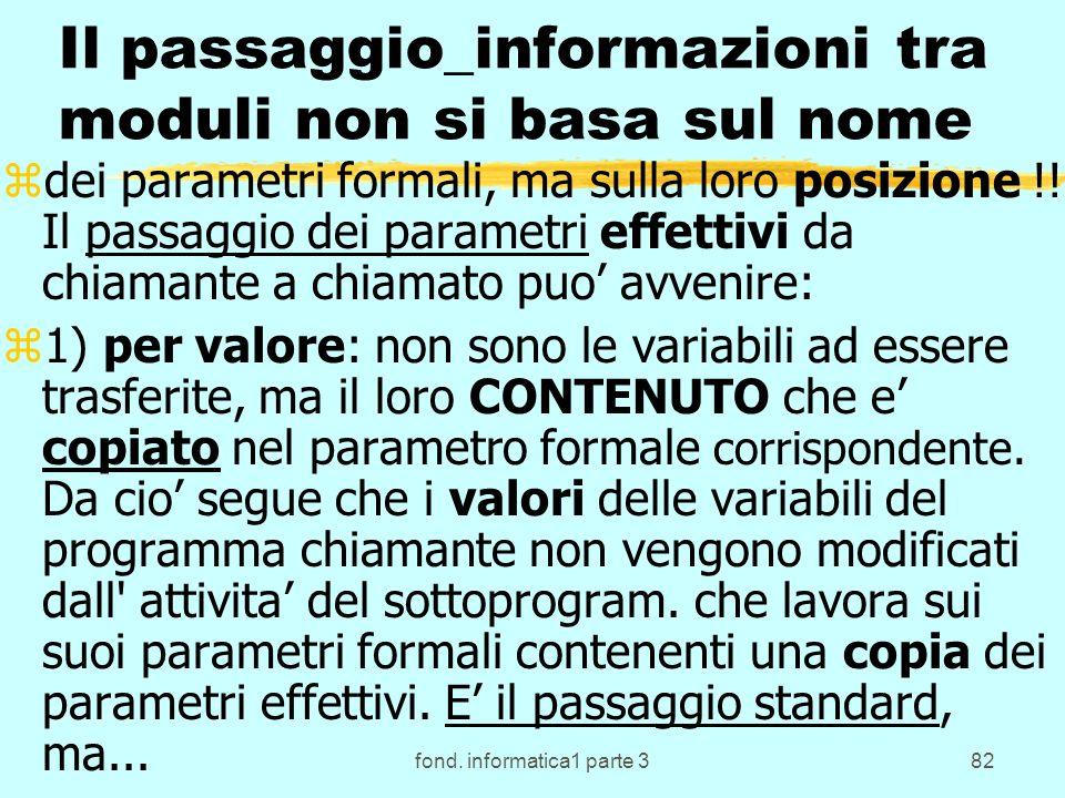 fond. informatica1 parte 382 Il passaggio_informazioni tra moduli non si basa sul nome zdei parametri formali, ma sulla loro posizione !! Il passaggio