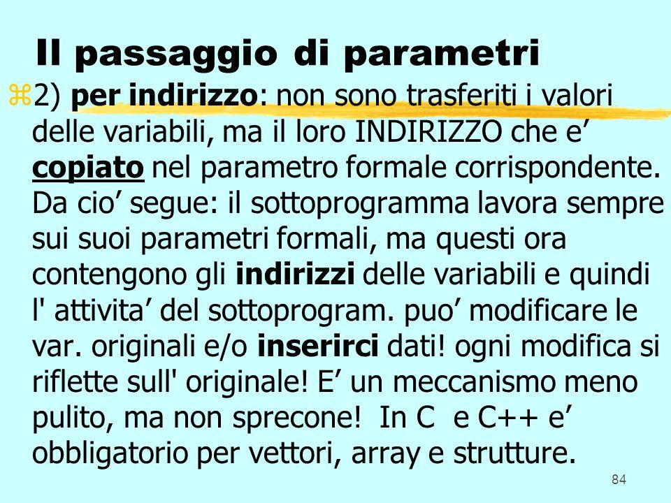 84 Il passaggio di parametri z2) per indirizzo: non sono trasferiti i valori delle variabili, ma il loro INDIRIZZO che e copiato nel parametro formale corrispondente.