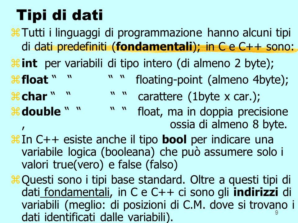 9 Tipi di dati zTutti i linguaggi di programmazione hanno alcuni tipi di dati predefiniti (fondamentali); in C e C++ sono: zint per variabili di tipo intero (di almeno 2 byte); zfloat floating-point (almeno 4byte); zchar carattere (1byte x car.); zdouble float, ma in doppia precisione, ossia di almeno 8 byte.