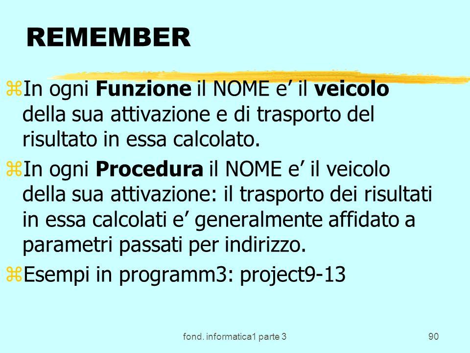 fond. informatica1 parte 390 REMEMBER zIn ogni Funzione il NOME e il veicolo della sua attivazione e di trasporto del risultato in essa calcolato. zIn