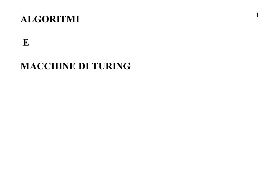 22 un istruzione della macchina di Turing unistruzione per la macchina di Turing dice: se hai letto dal foglietto il simbolo S e se sei nello stato Q (la computazione e nello stato Q) allora ti dico quale simbolo nuovo S1 scrivere su quel foglietto, quale stato nuovo Q1 assumi ora (cioe la computazione), e quale foglietto esaminare (a sinistra, a destra, o lo stesso -> Direzione) per la prossima istruzione: la quintupla (Q, S, Q1, S1, Direz) e un istruzione della macchina di Turing -> l insieme delle quintuple ( memorizzate a sola lettura nella macchina di Turing) e la descrizione del procedimento di calcolo che questa macchina realizza