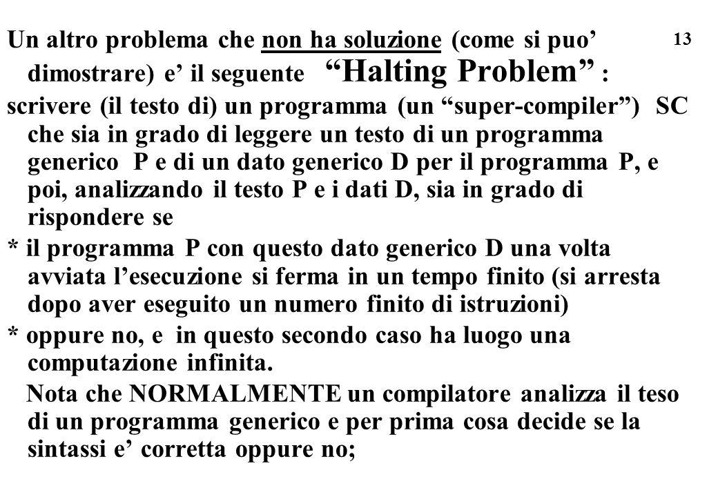 13 Un altro problema che non ha soluzione (come si puo dimostrare) e il seguente Halting Problem : scrivere (il testo di) un programma (un super-compi
