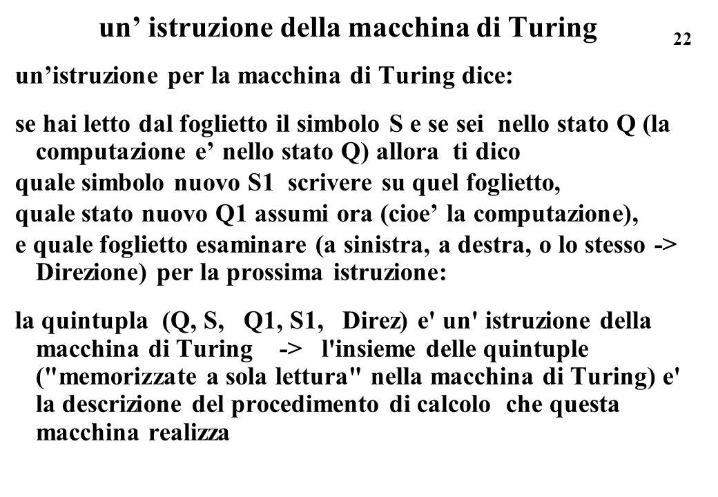 22 un istruzione della macchina di Turing unistruzione per la macchina di Turing dice: se hai letto dal foglietto il simbolo S e se sei nello stato Q