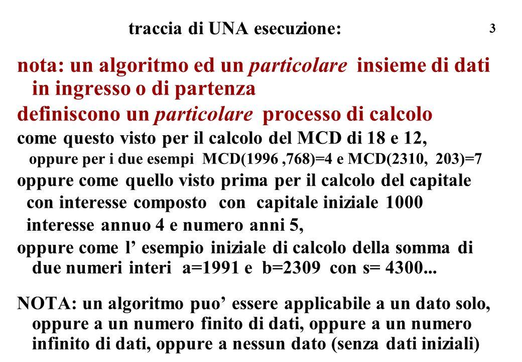 3 traccia di UNA esecuzione: nota: un algoritmo ed un particolare insieme di dati in ingresso o di partenza definiscono un particolare processo di cal