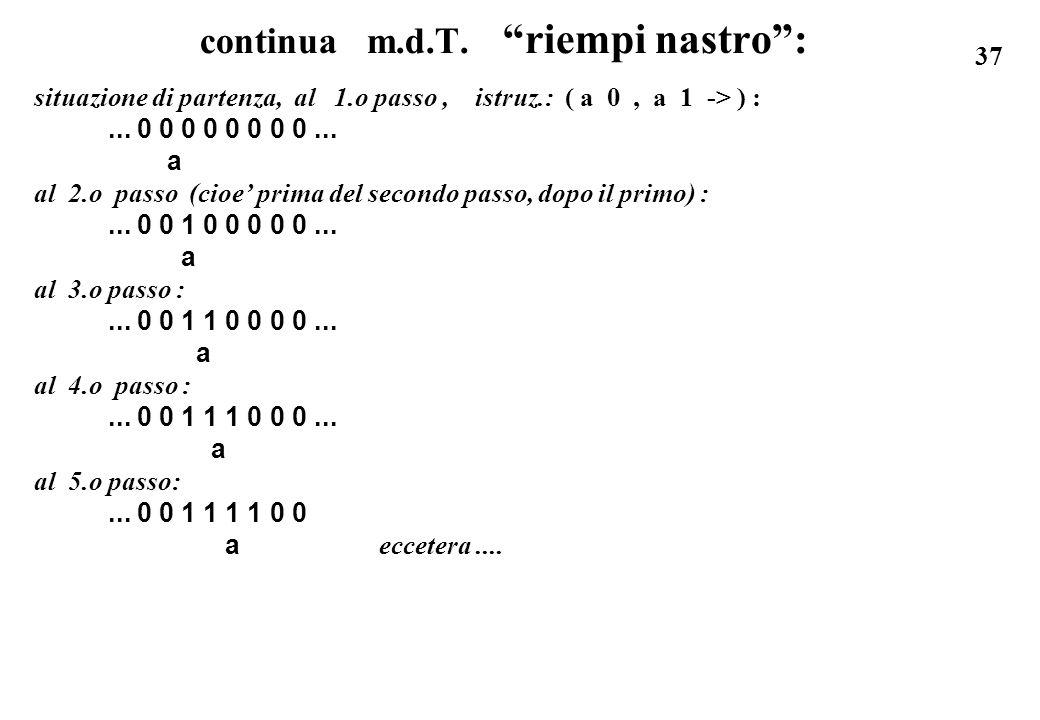37 continua m.d.T. riempi nastro: situazione di partenza, al 1.o passo, istruz.: ( a 0, a 1 -> ) :... 0 0 0 0 0 0 0 0... a al 2.o passo (cioe prima de