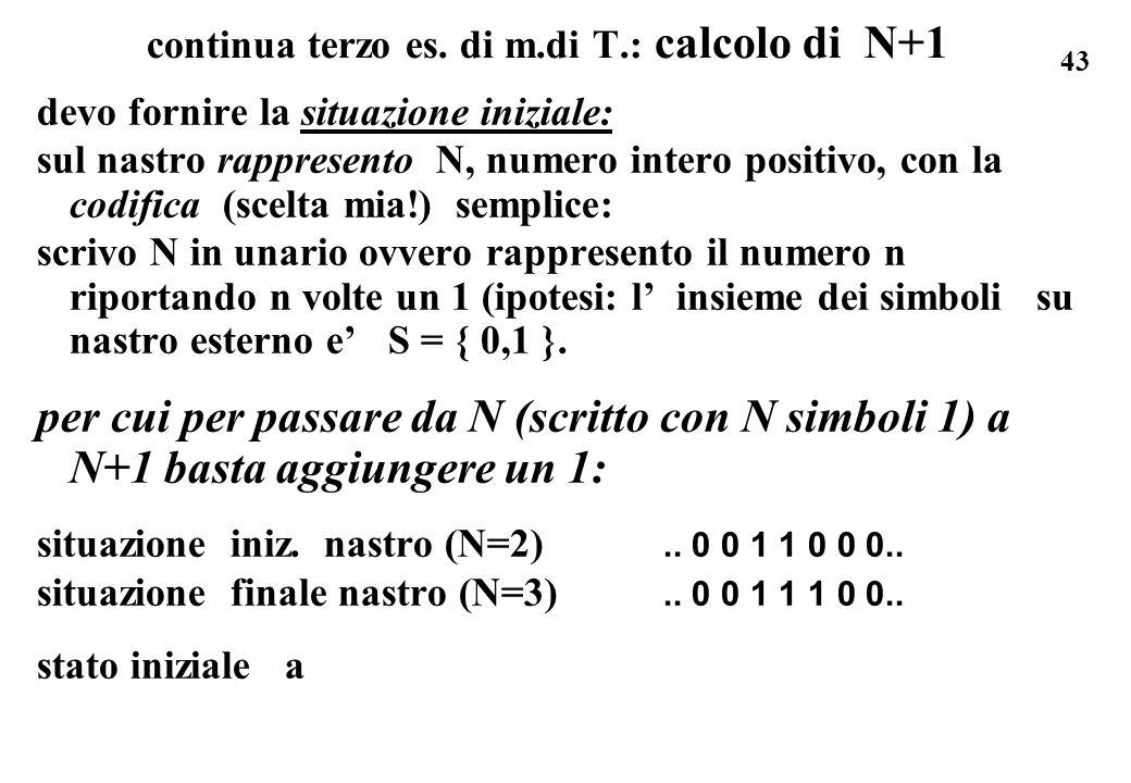 43 continua terzo es. di m.di T.: calcolo di N+1 devo fornire la situazione iniziale: sul nastro rappresento N, numero intero positivo, con la codific