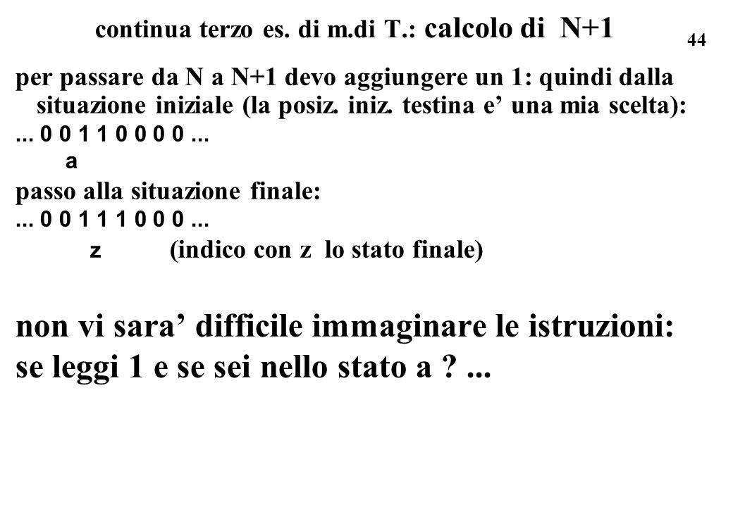 44 continua terzo es. di m.di T.: calcolo di N+1 per passare da N a N+1 devo aggiungere un 1: quindi dalla situazione iniziale (la posiz. iniz. testin