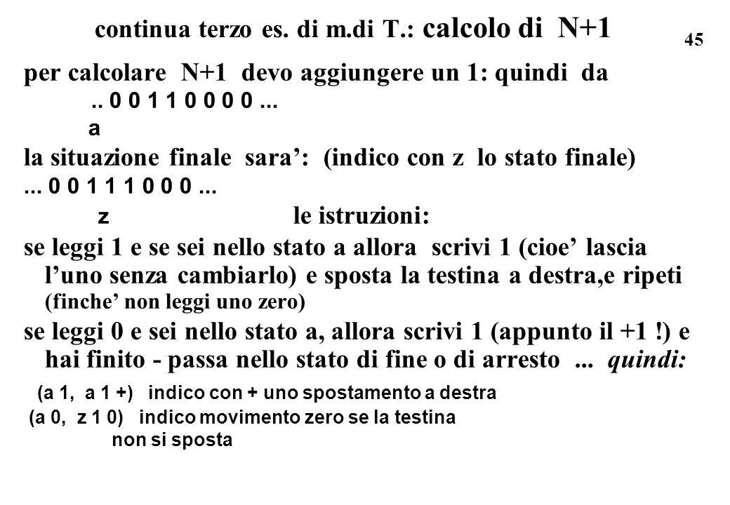 45 continua terzo es. di m.di T.: calcolo di N+1 per calcolare N+1 devo aggiungere un 1: quindi da.. 0 0 1 1 0 0 0 0... a la situazione finale sara: (