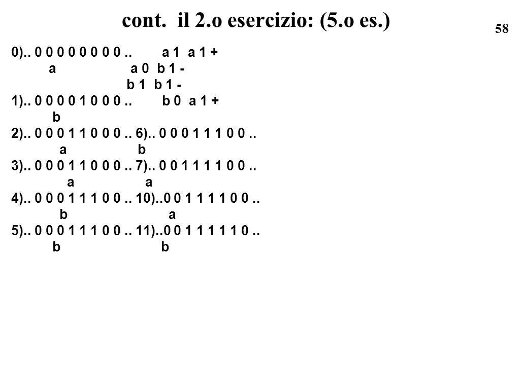 58 cont. il 2.o esercizio: (5.o es.) 0).. 0 0 0 0 0 0 0 0.. a 1 a 1 + a a 0 b 1 - b 1 b 1 - 1).. 0 0 0 0 1 0 0 0.. b 0 a 1 + b 2).. 0 0 0 1 1 0 0 0..
