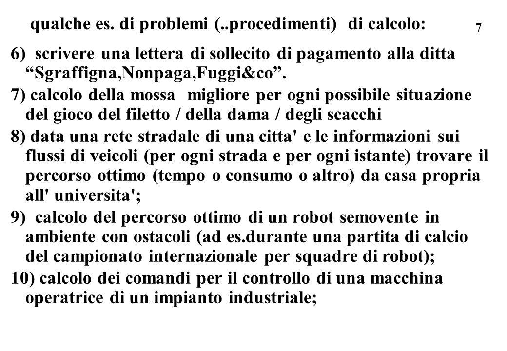 28 ricorda i componenti della macchina di Turing: * una memoria esterna per i simboli S * una memoria interna dove tenere lo stato Q * un unita di elaborazione dove e memorizzata (fisssata) la funzione di trasformazione (la matrice funzionale -le quintuple) e che esegue ciclicamente unistruzione, cioe: leggi dal nastro un simbolo s dati s (dal nastro) e q (stato corrente) determina, in base alle quintuple date una terna di simboli s1, q1, d1 scrivi s1 al posto di s, memorizza q1 al posto di q = nuovo stato della macchina sposta la testina in direzione d1...