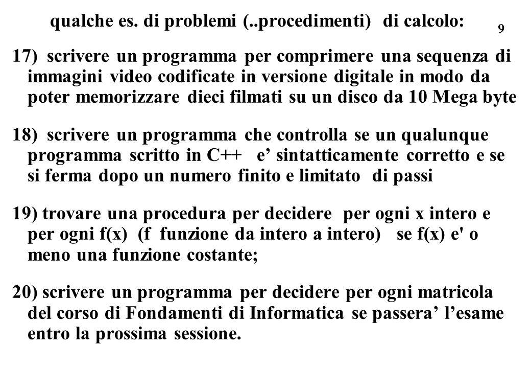 10 - ancora sui procedimenti di calcolo: specifica del problema: in ogni caso si chiede di ottenere a partire da certe informazioni iniziali (dati di ingresso del problema) informazioni nuove, o risultati del problema.