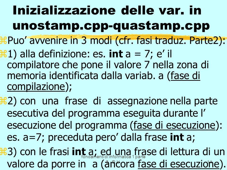 fondamenti di informatica 1 parte 3 D.U.14 Inizializzazione delle var. in unostamp.cpp-quastamp.cpp zPuo avvenire in 3 modi (cfr. fasi traduz. Parte2)