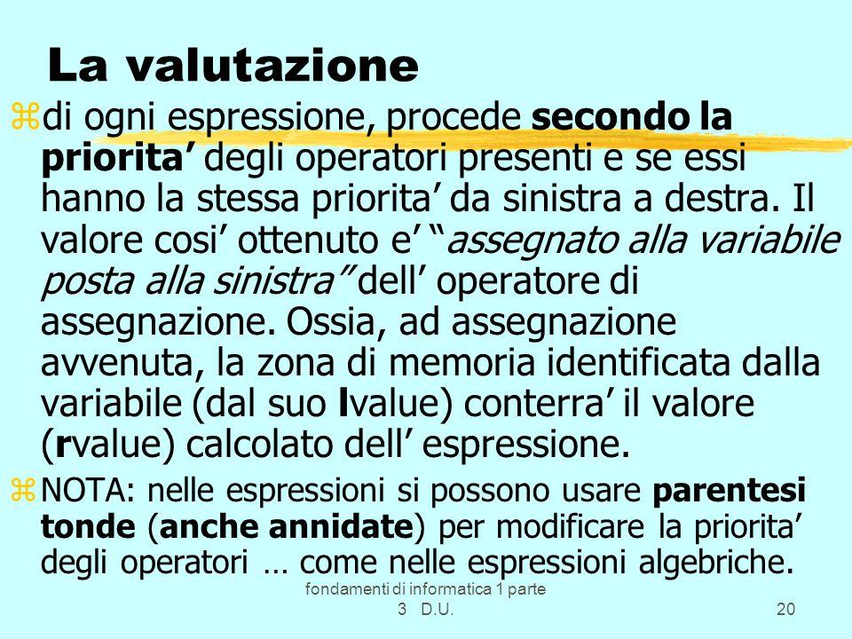 fondamenti di informatica 1 parte 3 D.U.20 La valutazione zdi ogni espressione, procede secondo la priorita degli operatori presenti e se essi hanno l