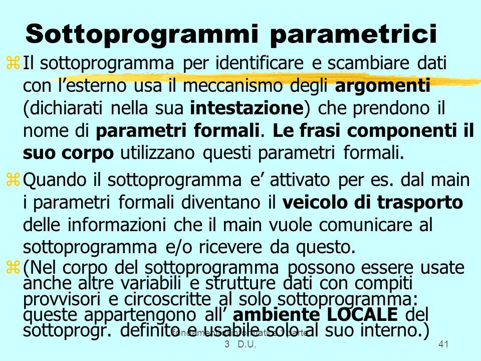 fondamenti di informatica 1 parte 3 D.U.41 Sottoprogrammi parametrici zIl sottoprogramma per identificare e scambiare dati con lesterno usa il meccani