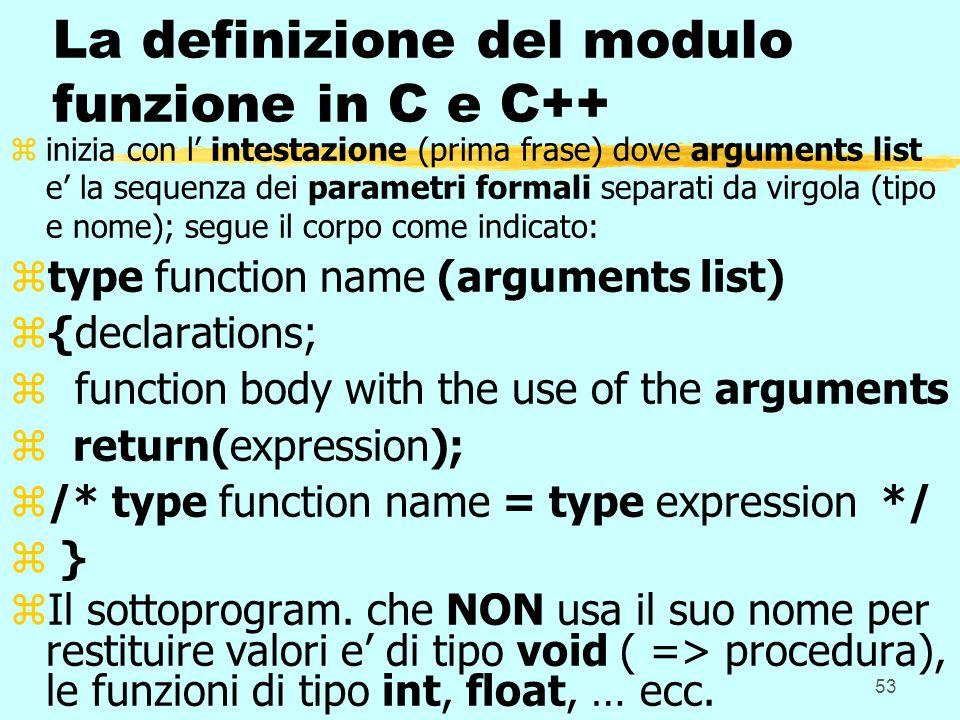 53 La definizione del modulo funzione in C e C++ zinizia con l intestazione (prima frase) dove arguments list e la sequenza dei parametri formali sepa