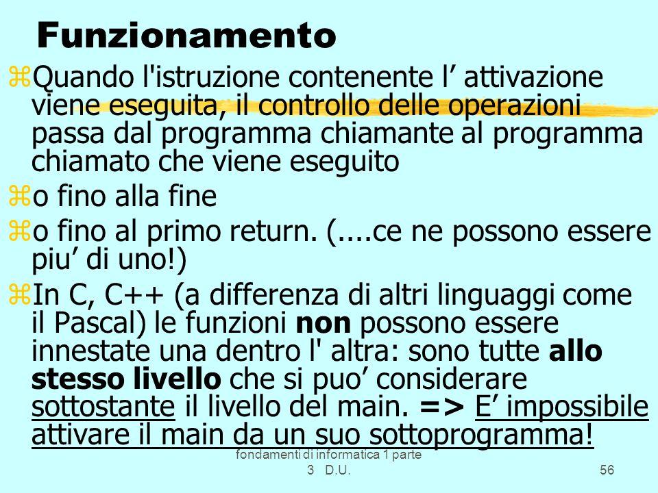 fondamenti di informatica 1 parte 3 D.U.56 Funzionamento zQuando l'istruzione contenente l attivazione viene eseguita, il controllo delle operazioni p
