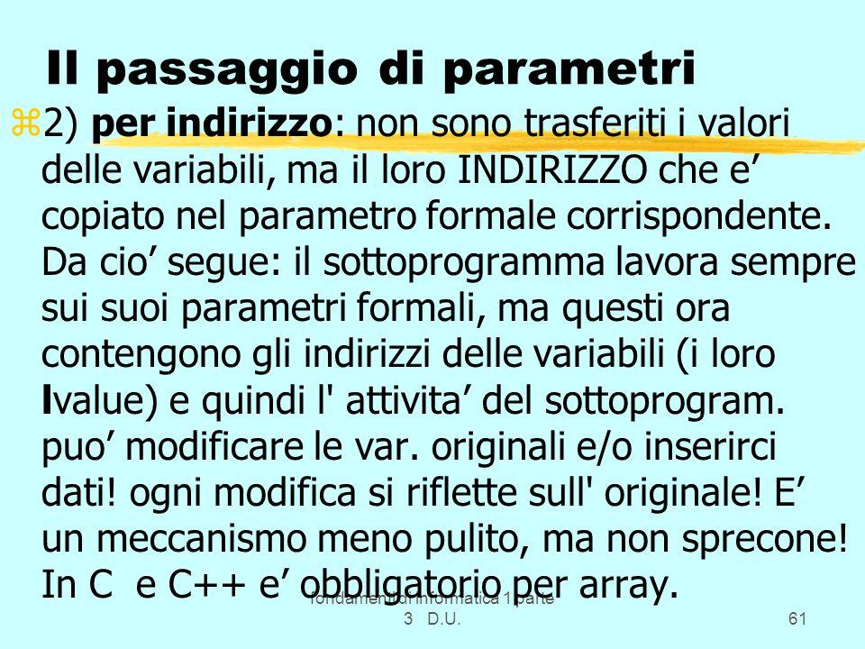 fondamenti di informatica 1 parte 3 D.U.61 Il passaggio di parametri z2) per indirizzo: non sono trasferiti i valori delle variabili, ma il loro INDIR