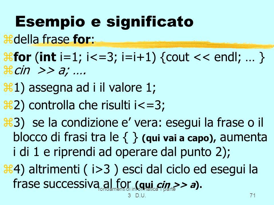 fondamenti di informatica 1 parte 3 D.U.71 Esempio e significato zdella frase for: zfor (int i=1; i<=3; i=i+1) {cout << endl; … } zcin >> a; …. z1) as