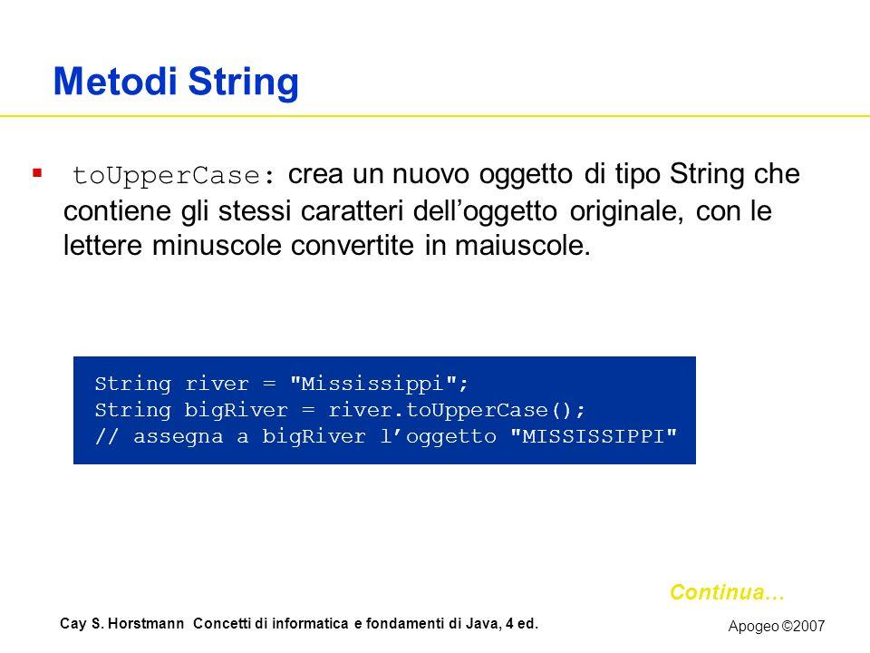 Apogeo ©2007 Cay S. Horstmann Concetti di informatica e fondamenti di Java, 4 ed. Metodi String toUpperCase: crea un nuovo oggetto di tipo String che
