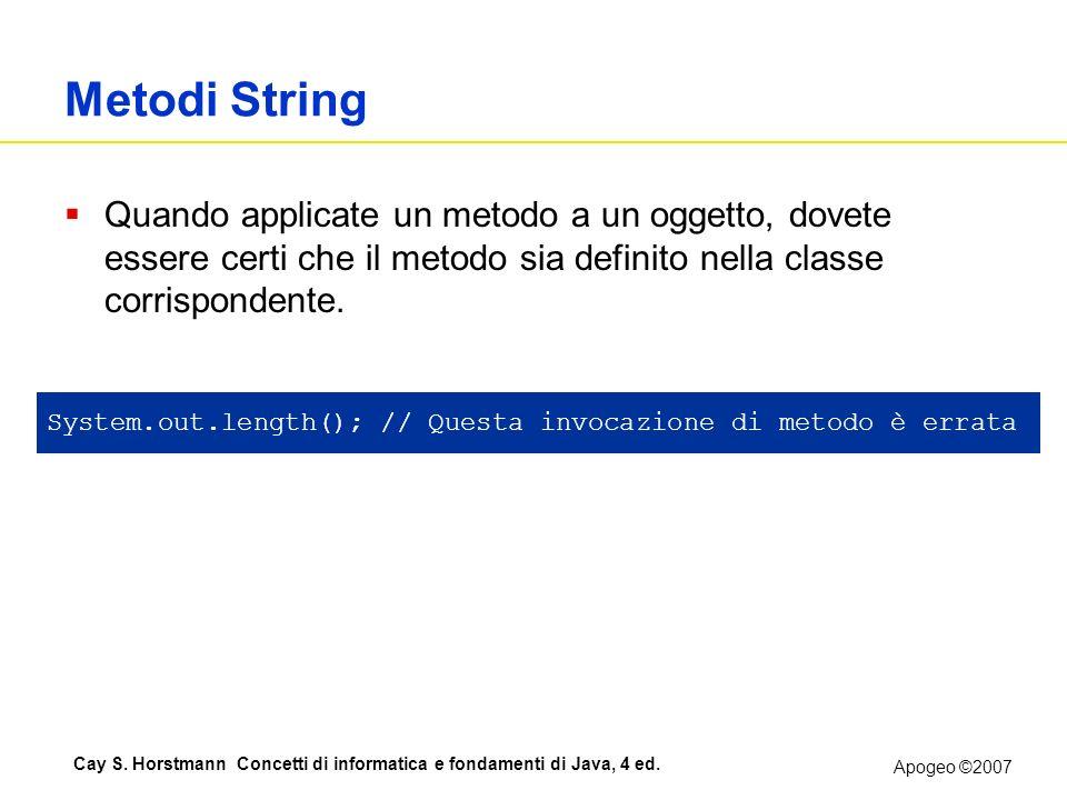 Apogeo ©2007 Cay S. Horstmann Concetti di informatica e fondamenti di Java, 4 ed. Metodi String Quando applicate un metodo a un oggetto, dovete essere