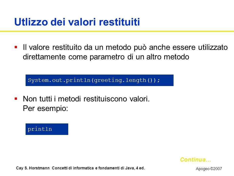 Apogeo ©2007 Cay S. Horstmann Concetti di informatica e fondamenti di Java, 4 ed. Utlizzo dei valori restituiti Il valore restituito da un metodo può