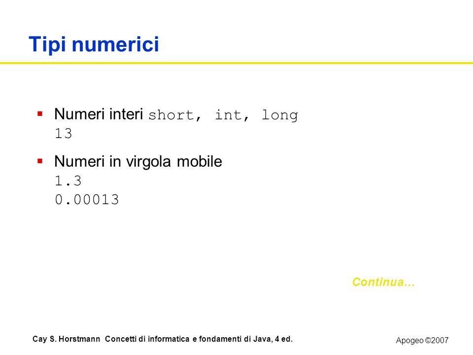 Apogeo ©2007 Cay S. Horstmann Concetti di informatica e fondamenti di Java, 4 ed. Tipi numerici Numeri interi short, int, long 13 Numeri in virgola mo