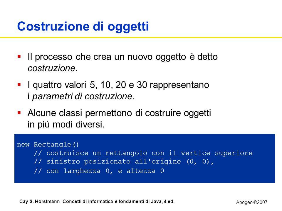 Apogeo ©2007 Cay S. Horstmann Concetti di informatica e fondamenti di Java, 4 ed. Costruzione di oggetti Il processo che crea un nuovo oggetto è detto