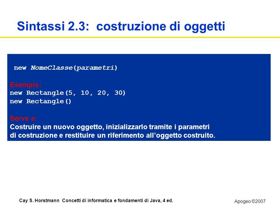 Apogeo ©2007 Cay S. Horstmann Concetti di informatica e fondamenti di Java, 4 ed. Sintassi 2.3: costruzione di oggetti new NomeClasse(parametri) Esemp