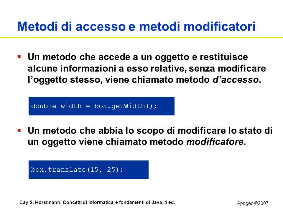 Apogeo ©2007 Cay S. Horstmann Concetti di informatica e fondamenti di Java, 4 ed. Metodi di accesso e metodi modificatori Un metodo che accede a un og