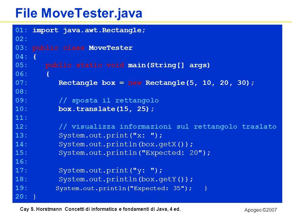 Apogeo ©2007 Cay S. Horstmann Concetti di informatica e fondamenti di Java, 4 ed. File MoveTester.java MoveTester.java 01: import java.awt.Rectangle;