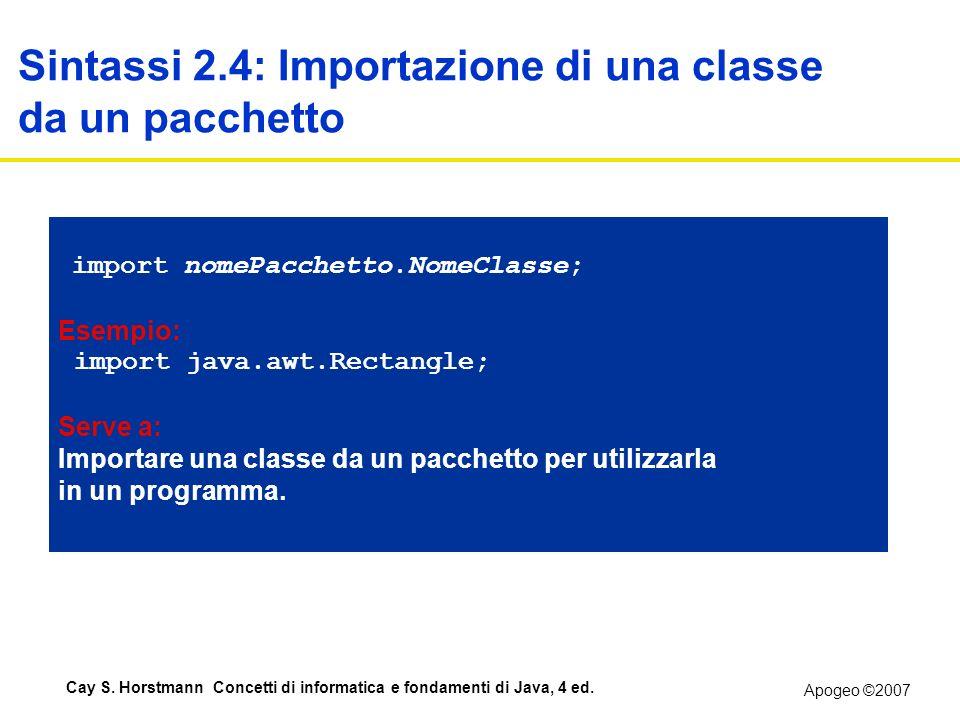 Apogeo ©2007 Cay S. Horstmann Concetti di informatica e fondamenti di Java, 4 ed. Sintassi 2.4: Importazione di una classe da un pacchetto import nome