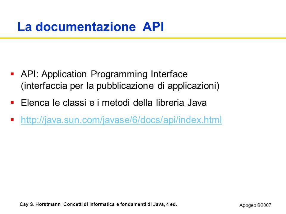 Apogeo ©2007 Cay S. Horstmann Concetti di informatica e fondamenti di Java, 4 ed. La documentazione API API: Application Programming Interface (interf