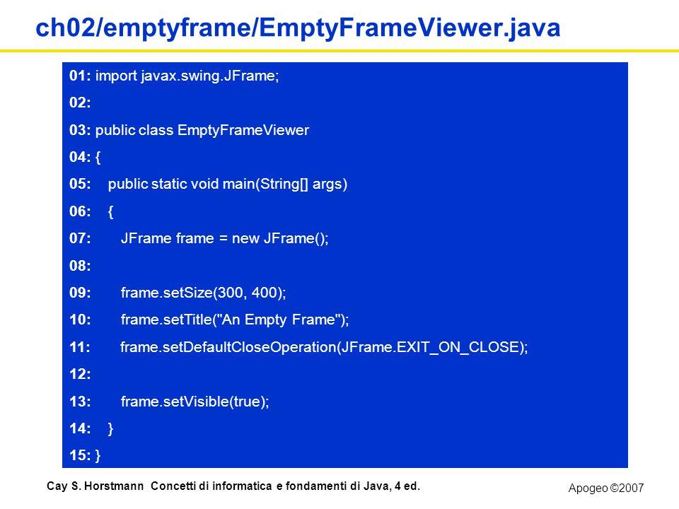 Apogeo ©2007 Cay S. Horstmann Concetti di informatica e fondamenti di Java, 4 ed. ch02/emptyframe/EmptyFrameViewer.java 01: import javax.swing.JFrame;