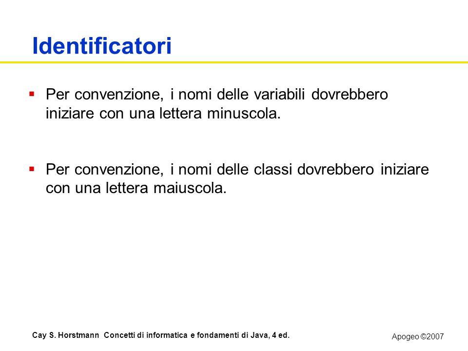 Apogeo ©2007 Cay S. Horstmann Concetti di informatica e fondamenti di Java, 4 ed. Identificatori Per convenzione, i nomi delle variabili dovrebbero in