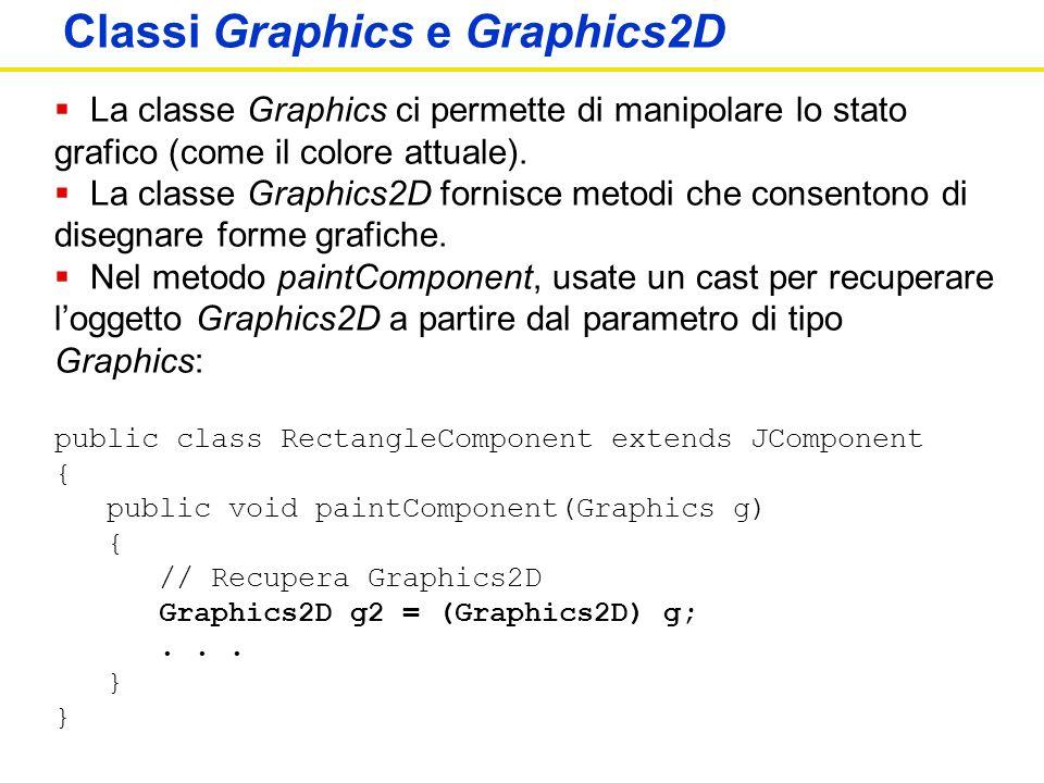 Apogeo ©2007 Cay S. Horstmann Concetti di informatica e fondamenti di Java, 4 ed. Classi Graphics e Graphics2D La classe Graphics ci permette di manip