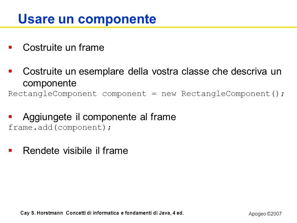 Apogeo ©2007 Cay S. Horstmann Concetti di informatica e fondamenti di Java, 4 ed. Usare un componente Costruite un frame Costruite un esemplare della