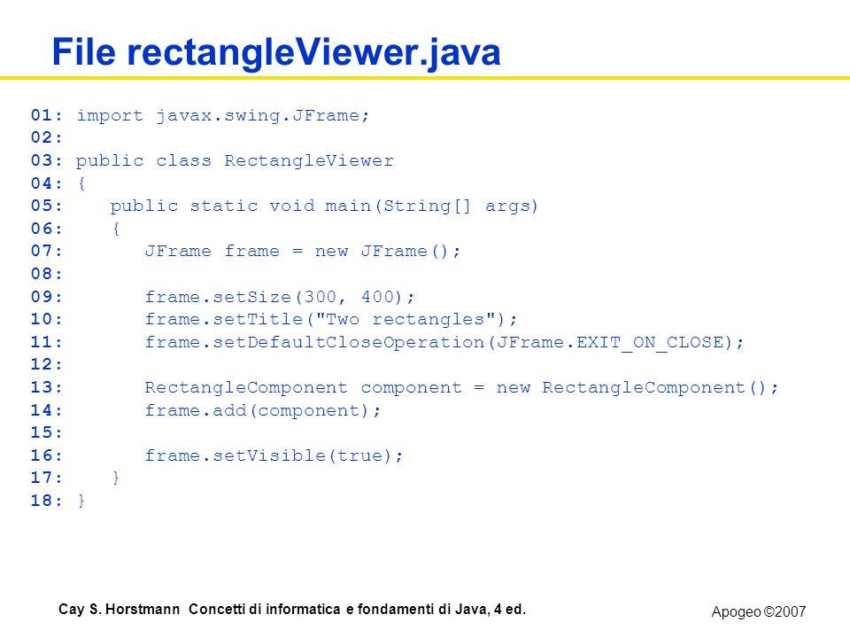 Apogeo ©2007 Cay S. Horstmann Concetti di informatica e fondamenti di Java, 4 ed. File rectangleViewer.java 01: import javax.swing.JFrame; 02: 03: pub
