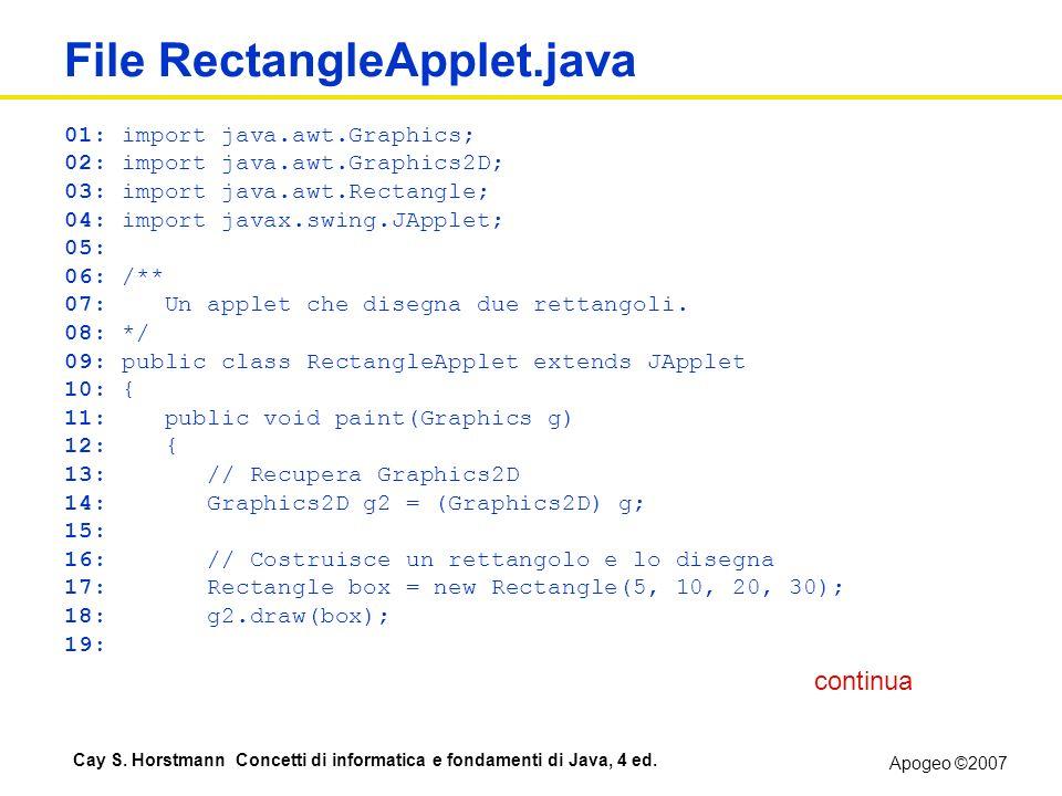 Apogeo ©2007 Cay S. Horstmann Concetti di informatica e fondamenti di Java, 4 ed. File RectangleApplet.java 01: import java.awt.Graphics; 02: import j