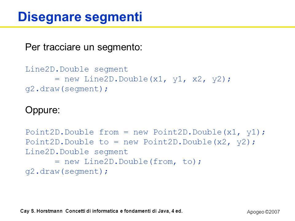 Apogeo ©2007 Cay S. Horstmann Concetti di informatica e fondamenti di Java, 4 ed. Disegnare segmenti Per tracciare un segmento: Line2D.Double segment