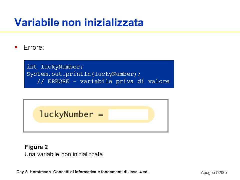 Apogeo ©2007 Cay S. Horstmann Concetti di informatica e fondamenti di Java, 4 ed. Variabile non inizializzata Errore: int luckyNumber; System.out.prin