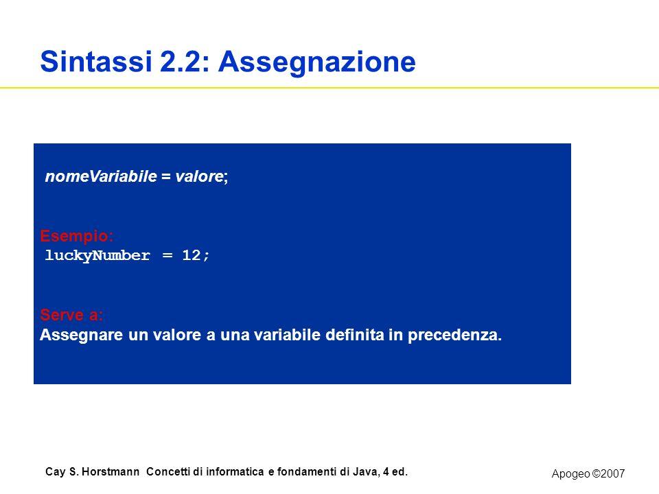 Apogeo ©2007 Cay S. Horstmann Concetti di informatica e fondamenti di Java, 4 ed. Sintassi 2.2: Assegnazione nomeVariabile = valore; Esempio: luckyNum
