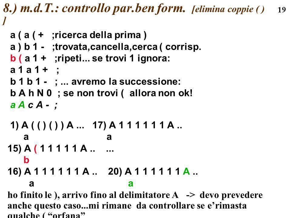 19 8.) m.d.T.: controllo par.ben form. [elimina coppie ( ) ] a ( a ( + ;ricerca della prima ) a ) b 1 - ;trovata,cancella,cerca ( corrisp. b ( a 1 + ;