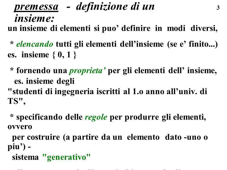 3 premessa - definizione di un insieme: un insieme di elementi si puo definire in modi diversi, * elencando tutti gli elementi dellinsieme (se e finit