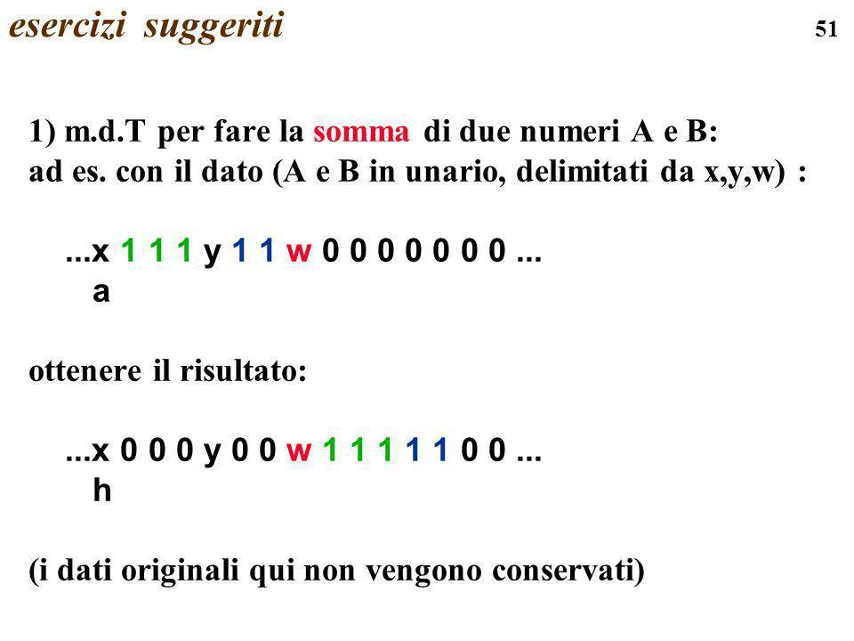 51 esercizi suggeriti 1) m.d.T per fare la somma di due numeri A e B: ad es. con il dato (A e B in unario, delimitati da x,y,w) :...x 1 1 1 y 1 1 w 0