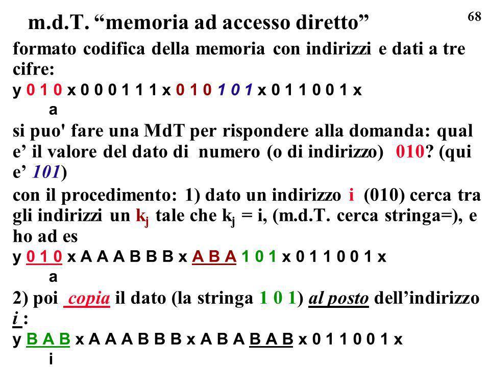 68 m.d.T. memoria ad accesso diretto formato codifica della memoria con indirizzi e dati a tre cifre: y 0 1 0 x 0 0 0 1 1 1 x 0 1 0 1 0 1 x 0 1 1 0 0