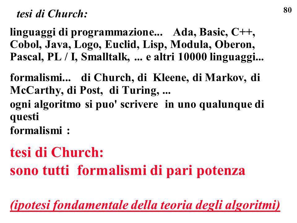 80 tesi di Church: linguaggi di programmazione... Ada, Basic, C++, Cobol, Java, Logo, Euclid, Lisp, Modula, Oberon, Pascal, PL / I, Smalltalk,... e al