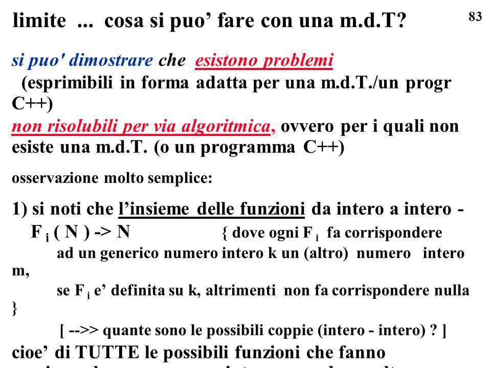 83 limite... cosa si puo fare con una m.d.T? si puo' dimostrare che esistono problemi (esprimibili in forma adatta per una m.d.T./un progr C++) non ri