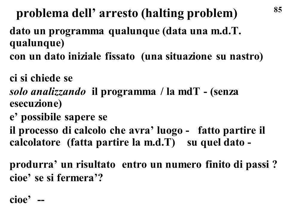 85 problema dell arresto (halting problem) dato un programma qualunque (data una m.d.T. qualunque) con un dato iniziale fissato (una situazione su nas