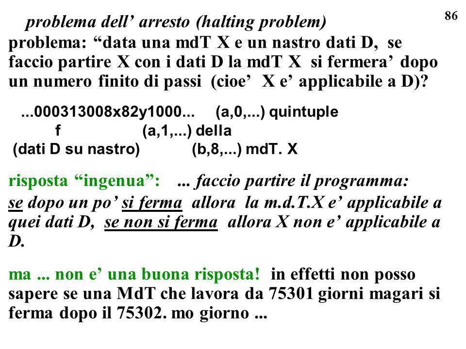 86 problema: data una mdT X e un nastro dati D, se faccio partire X con i dati D la mdT X si fermera dopo un numero finito di passi (cioe X e applicab